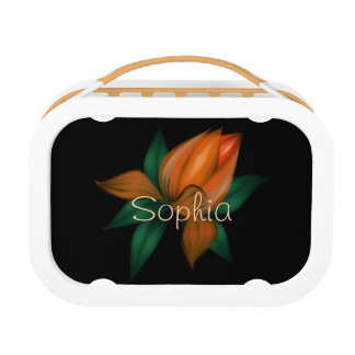 Orange Flower on Black Lunch Boxes