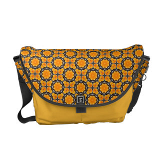 Orange Flower Pattern Commuter Bags