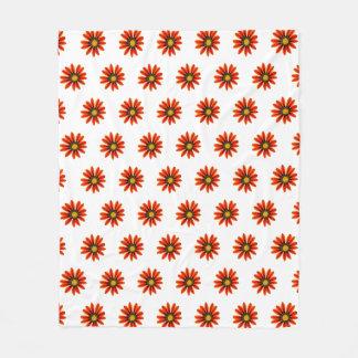 Orange Flower Pattern Fleece Blanket