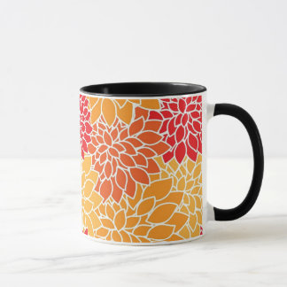Orange Flower Pattern Mug