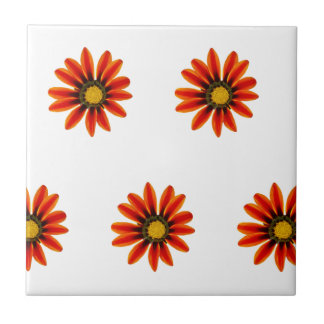 Orange Flower Pattern Small Square Tile