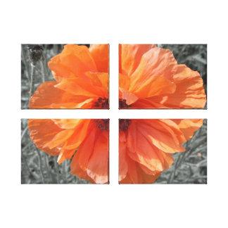 Orange Flower Quad Canvas Decoration Gallery Wrapped Canvas