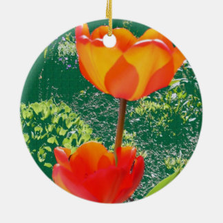 Orange Flower Round Ceramic Decoration