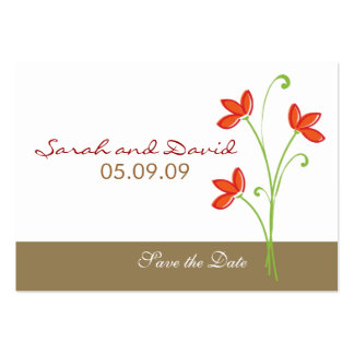 Orange Flower Save The Date Business Card Templates