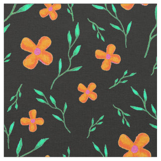 Orange Flowers and Green Sprigs Fabric