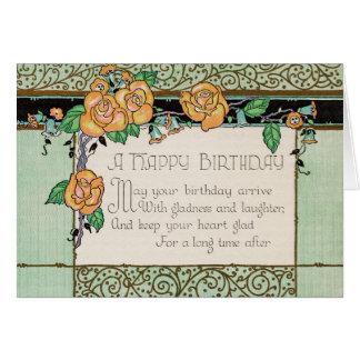 Orange Flowers Art Deco Rhyming Poem Birthday Card