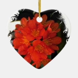 Orange Flowers Ceramic Heart Decoration