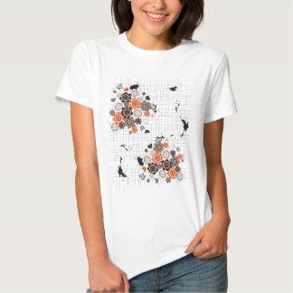 Orange Flowers Chicks Grunge Ink Blots Doodles Kid Tee Shirts