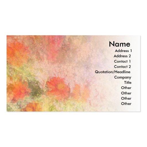 Orange Flowers Impressionist Blend Business Cards