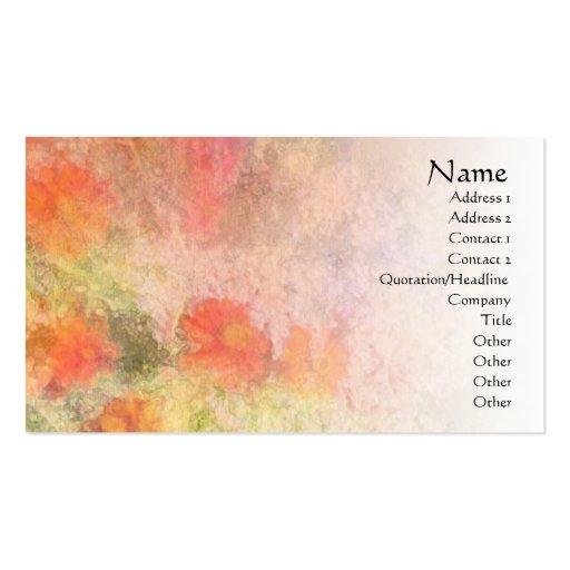 Orange Flowers Impressionist Blend Profile Card Business Card Template