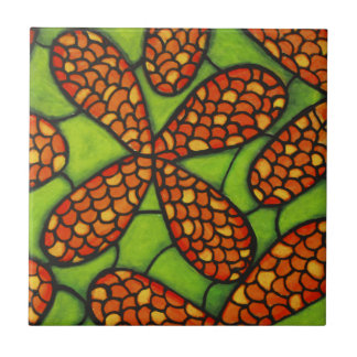 Orange Flowers in Green Grass Tile