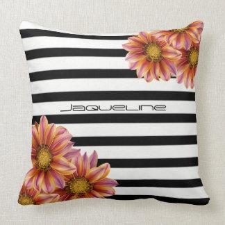 Orange Flowers on Black and White Throw Pillow