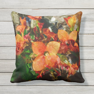 Orange Flowers Outdoor Cushion