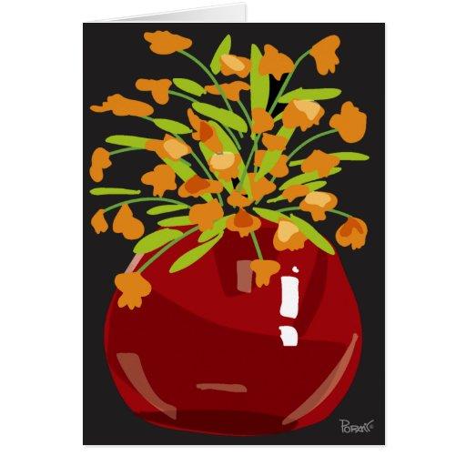 Orange Flowers & Red Vase Blank Card