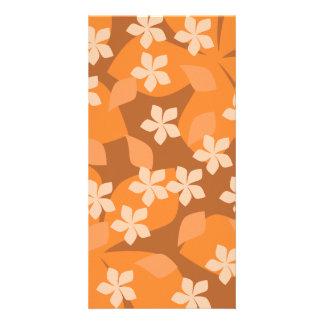 Orange Flowers. Retro Floral Pattern. Photo Cards