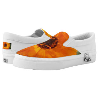 Orange FlwrCustom Zipz Slip On Shoes,  Men & Women Printed Shoes