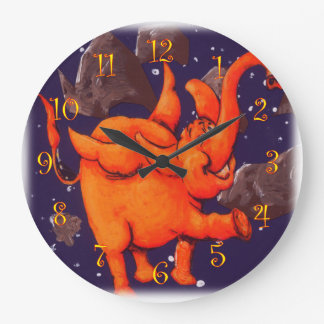 Orange Flying Elephant Large Clock
