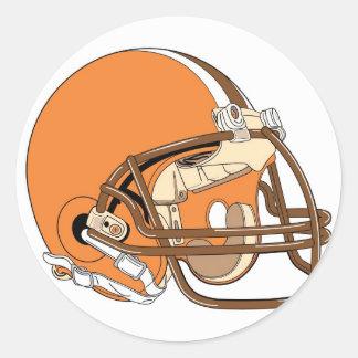 Orange football helmet classic round sticker