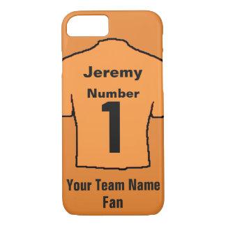 Orange Football Shirt. Customise the name and team iPhone 8/7 Case