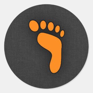 Orange Footprint Classic Round Sticker