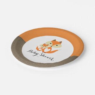 Orange Fox Burlap Baby Shower 7 Inch Paper Plate