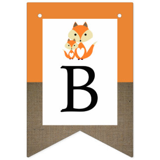 Orange Fox Burlap Baby Shower Bunting
