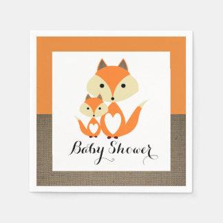 Orange Fox Burlap Baby Shower Disposable Napkin
