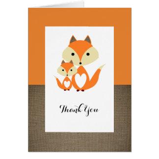 Orange Fox Burlap Baby Shower Thank You Card