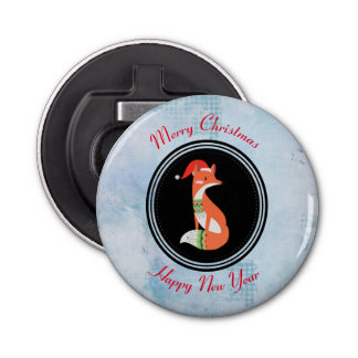 Orange Fox in Red Santa Hat Merry Christmas Bottle Opener