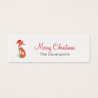 Orange Fox in Red Santa Hat Merry Christmas Mini Business Card
