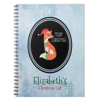 Orange Fox in Red Santa Hat Merry Christmas Notebook