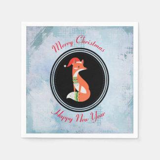 Orange Fox in Red Santa Hat Merry Christmas Paper Napkin