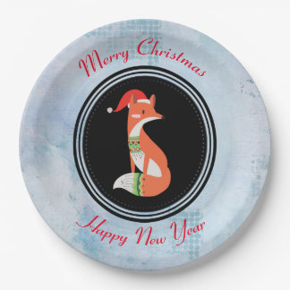 Orange Fox in Red Santa Hat Merry Christmas Paper Plate