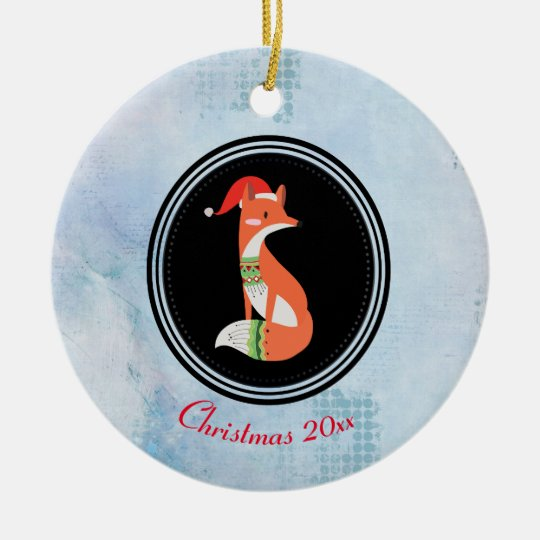 Orange Fox in Red Santa Hat Merry Christmas Round Ceramic Decoration