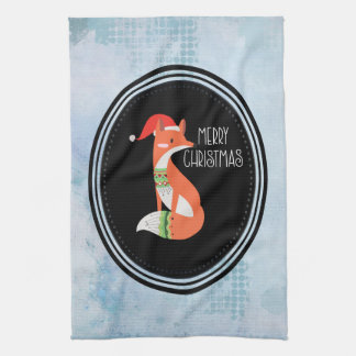 Orange Fox in Red Santa Hat Merry Christmas Tea Towel