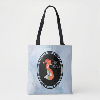 Orange Fox in Red Santa Hat Merry Christmas Tote Bag