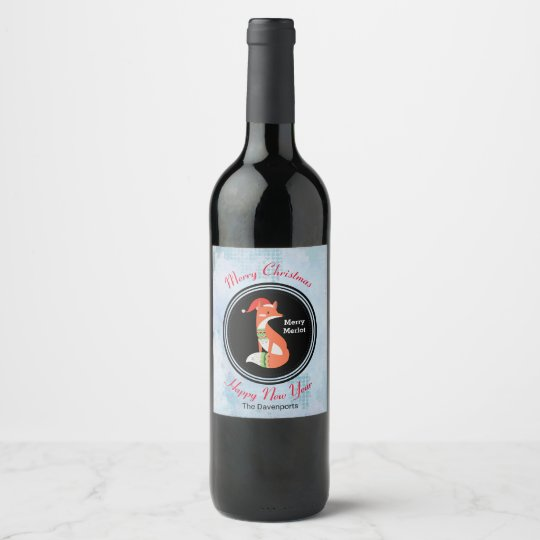 Orange Fox in Red Santa Hat Merry Christmas Wine Label