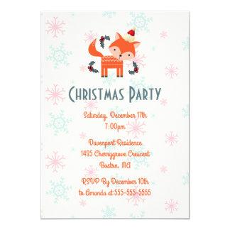 Orange Fox In Santa Hat Christmas Party 13 Cm X 18 Cm Invitation Card