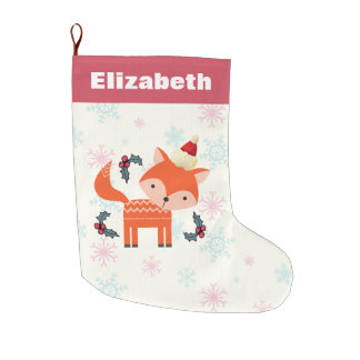 Orange Fox In Santa Hat Cute Christmas Customized Large Christmas Stocking