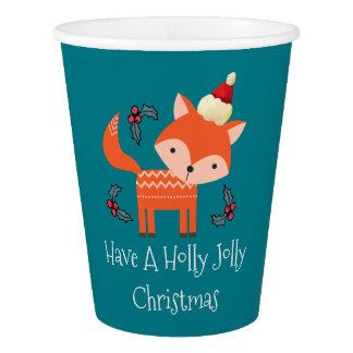 Orange Fox In Santa Hat Cute Whimsical Christmas Paper Cup