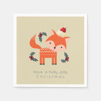 Orange Fox In Santa Hat Cute Whimsical Christmas Paper Serviettes