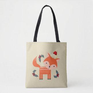Orange Fox In Santa Hat Cute Whimsical Christmas Tote Bag