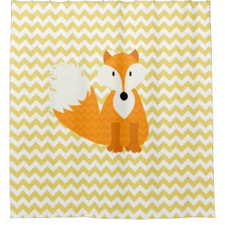 Orange Fox on Yellow Chevron Stripes Shower Curtain