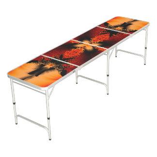 Orange Fractal Flower Pong Table