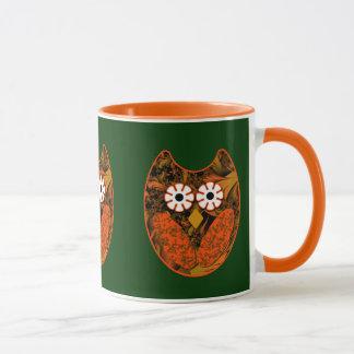 Orange Fractal Owl Mug