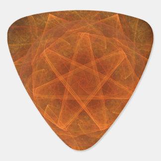 Orange Fractal Star Guitar Pick