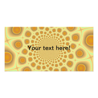 Orange fractals custom photo card
