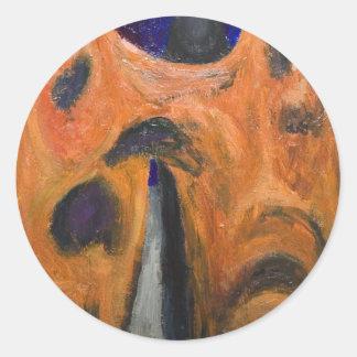 Orange Fraternity (distortion expressionism) Round Sticker