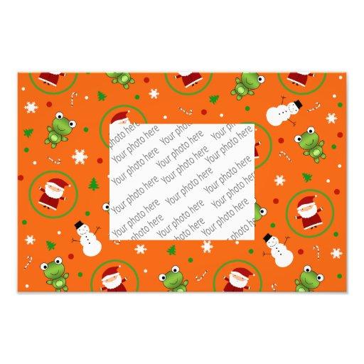 Orange frogs santa claus snowmen photographic print