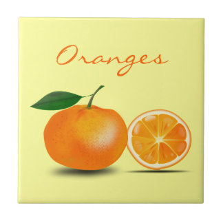 Orange Fruit and Orange Slice Simple and Classic Small Square Tile